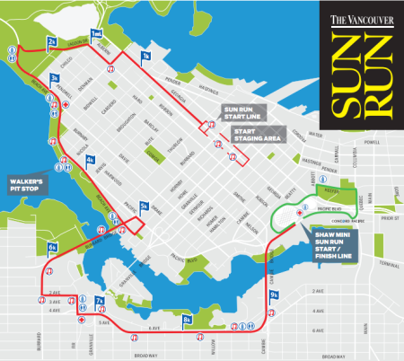 Route Map for the 2013 Vancouver Sun Run - from www.vancouversun.com